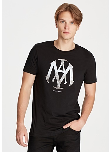 Mavi Erkek  Mühür Logo Baskılı Tişört 065641-900 Siyah